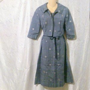 Vintage 1960's Blue Hand Made Metallic Print Dress *
